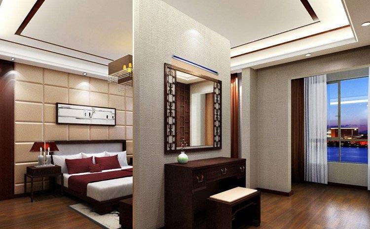 这两种卧室屏风装修设计放弃了古代屏风的实用性,愈加以漂亮装饰性为